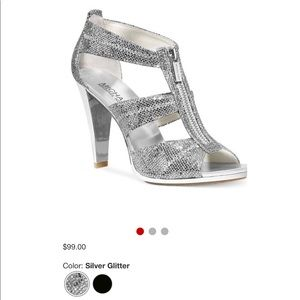 Michael Kors silver sparkly heels
